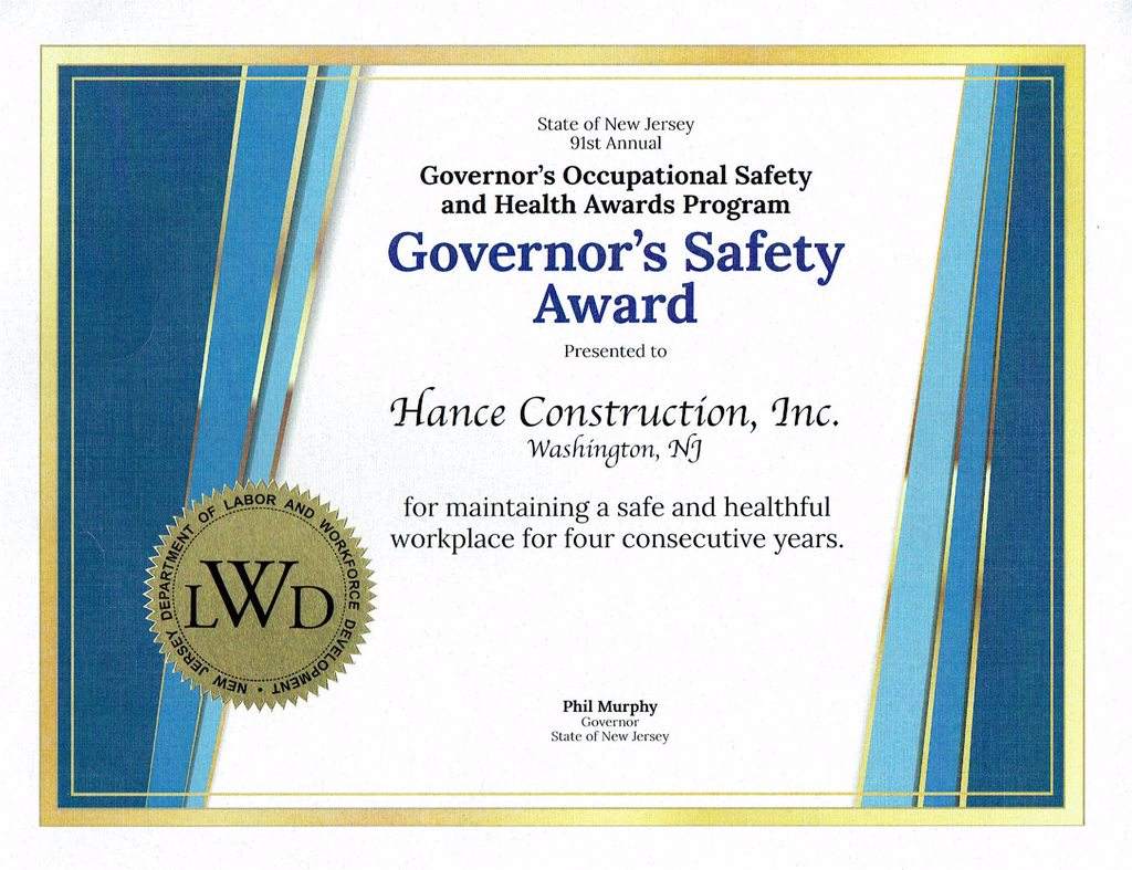 Governor's Safety Certificate 2018